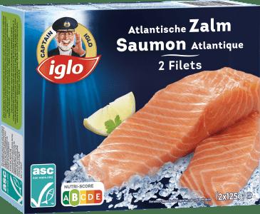 verpakking natuur atlantische zalm filets 2 stuks van captain iglo