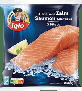 emballage saumon atlantique nature 5 pièces de captain iglo