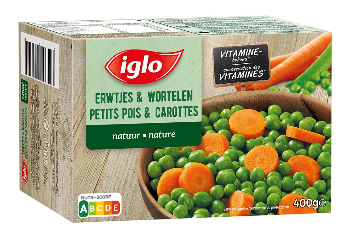 diepvries erwtjes en wortelen
