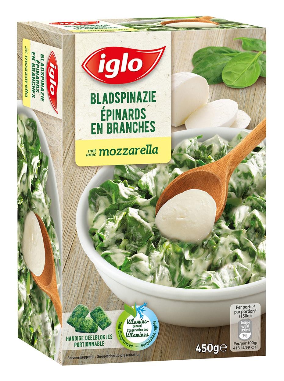 bladspinazie met mozzarella