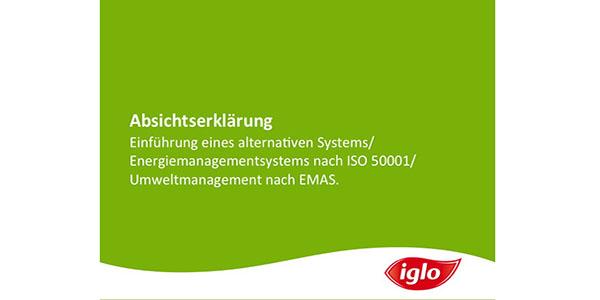 Iglo Absichtserklärung Energiemanagement System ISO50001