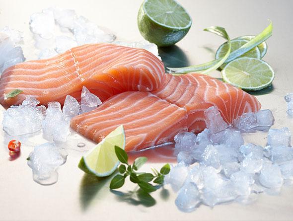 Rohe Fischstücke mit Eiswürfeln