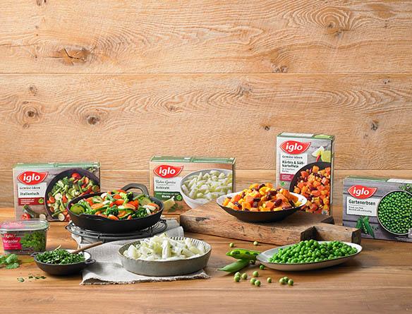 Verschiedene iglo Produkte auf Tellern angerichtet