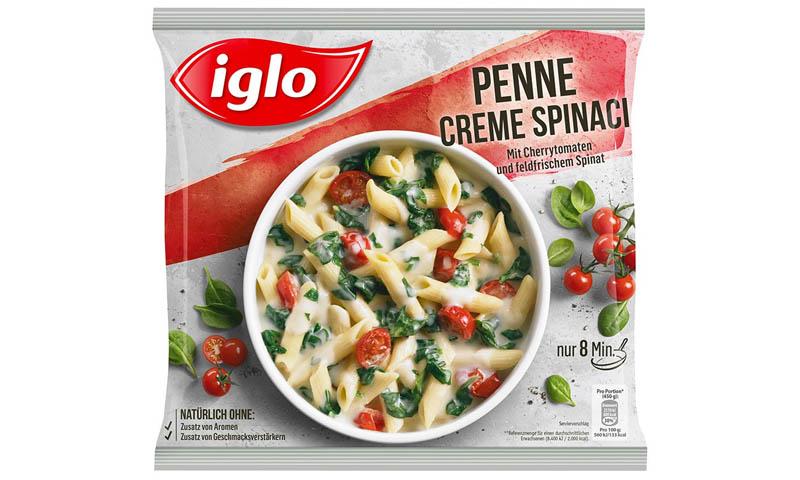 iglo produktverpackung penne creme spinaci