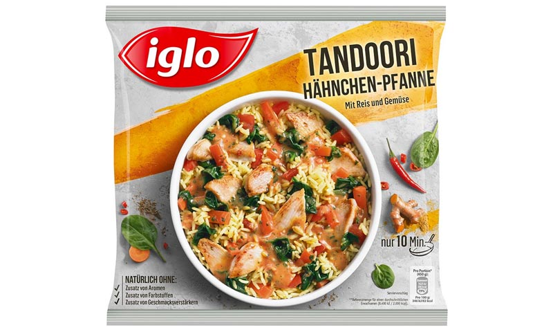 iglo produktverpackung tandoori haehnchen pfanne