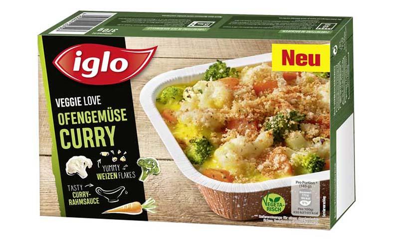 iglo produktverpackung veggie love ofengemuese curry