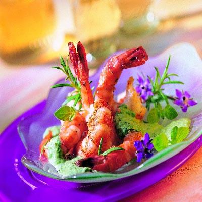 Garnelen mit Spinat Kräuter Sauce