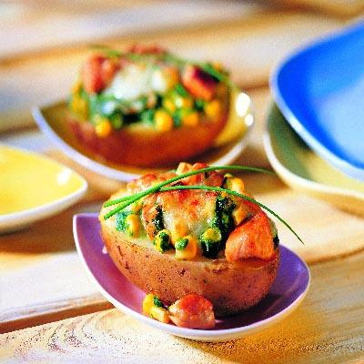 Ofen Kartoffel mit Spinat