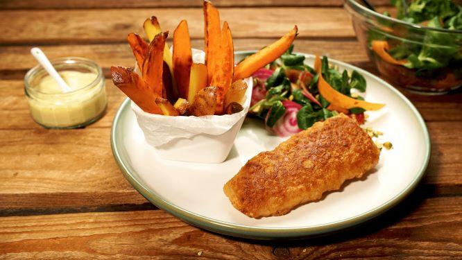 Vis met patat en groenten