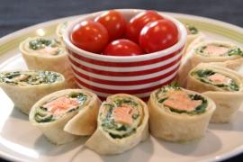 Wraps met spinazie en zalm