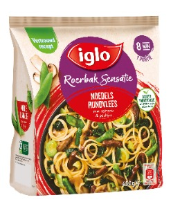 Iglo Roerbak Sensatie Noodles met rundvlees, spinazie & peultjes