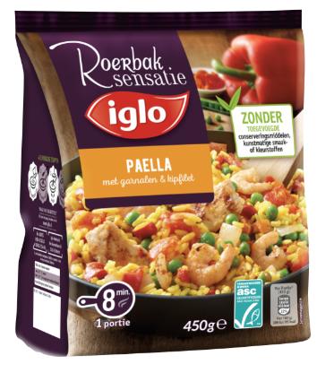Iglo Roerbak Sensatie Paella met garnalen & kipfilet