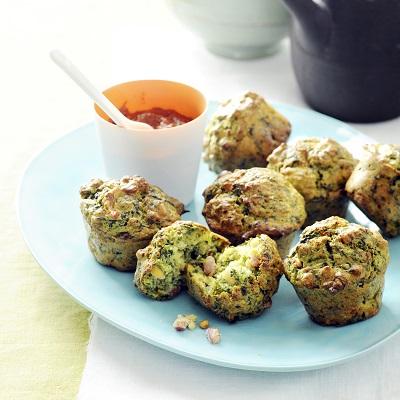 Hartige muffins met Spinazie Boursin