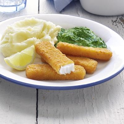Vissticks met Spinazie a la creme en aardappelpuree