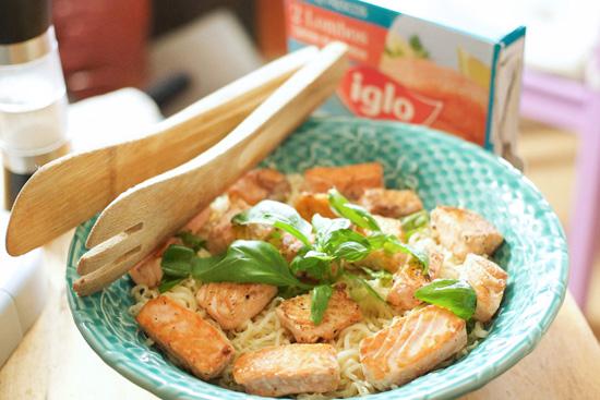 receita de salmão com noodles