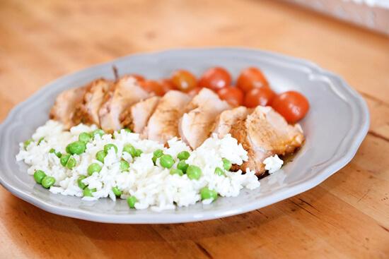receita de lombo com arroz de ervilhas