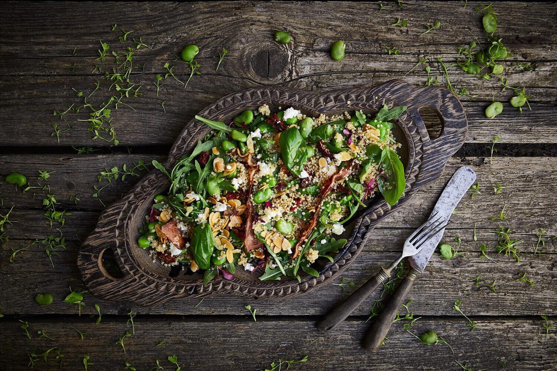 salada de favas e quinoa
