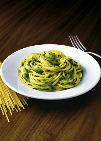 Spaghetti met spinazie