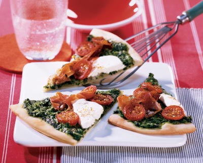 Geitenkaaspizza met spinazie