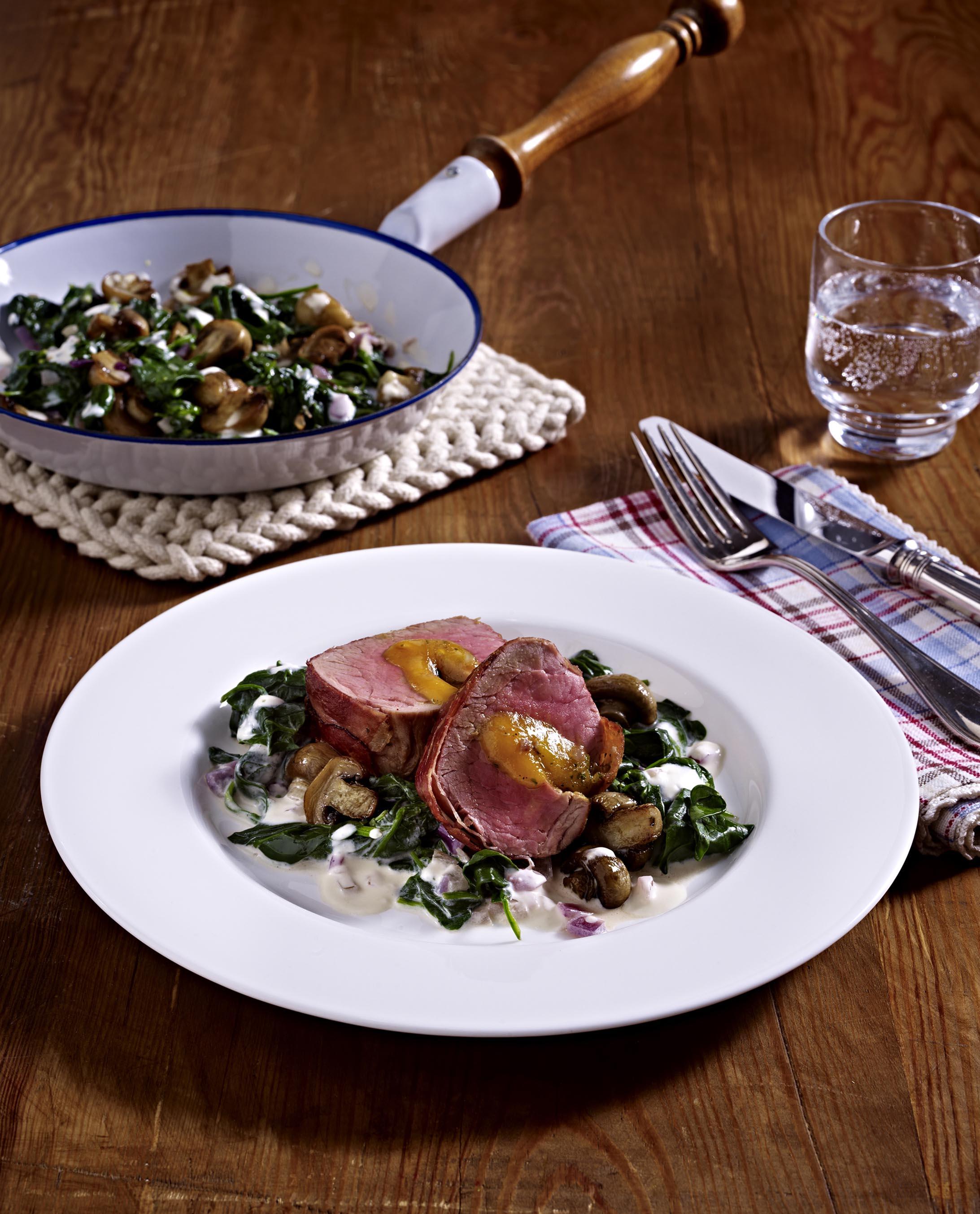 Gevulde varkensfilet met spinazie