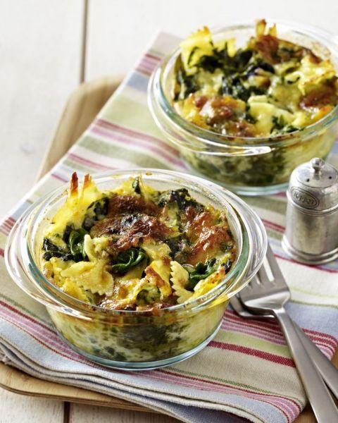Ovengerecht met spinazie en pasta