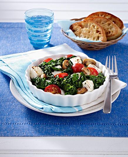 kleines spinat schafskaese gratin mit ciabatta
