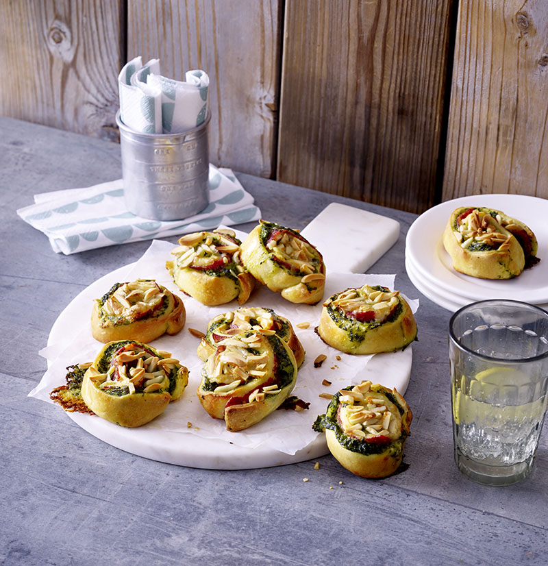 spinat salami schnecken mit raclette kaese