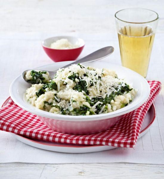 Vegetarische risotto met spinazie