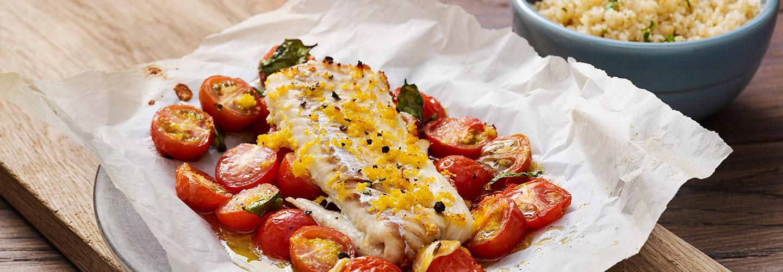 Kolja med stekta tomater