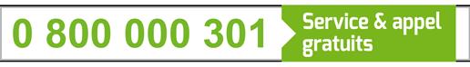 0 800 000 301 (service et appel gratuits)