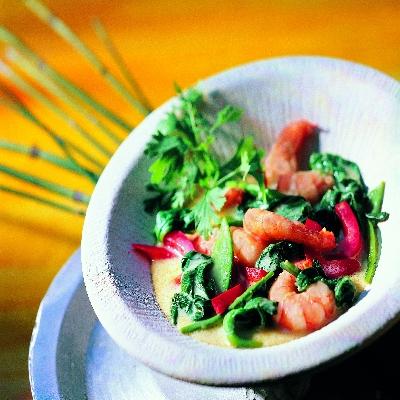 Thaise spinazie kerrie met garnalen