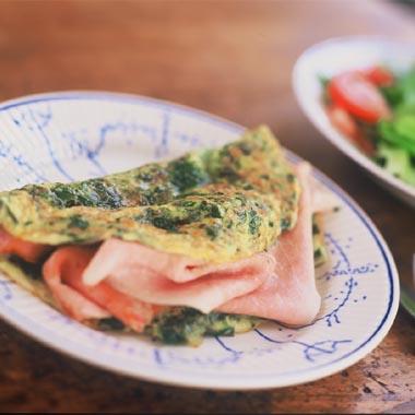 Spinazie omelet met ham en kaas (uit Margriet)