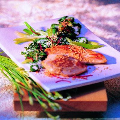 Kalkoen filet met Aziatische spinazie