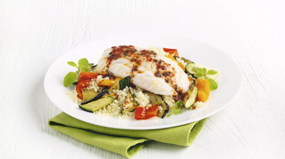 cod and cous cous meal on a plate