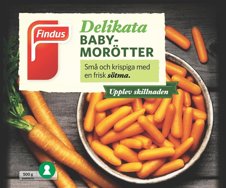 förpackningsomslag av baby morötter