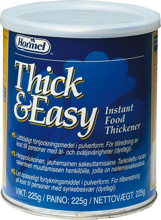 blå burk med thick and easy