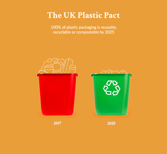 The UK plastic pact. 100% plastic packaging to be reusable or recyclable by 2015. Birds Eye UK plastic reduction.