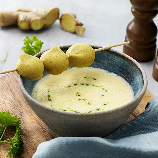 Falafel på spyd med majssuppe