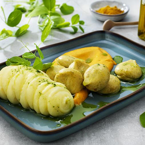 Falafel med kartoffelmos og gulerodscreme