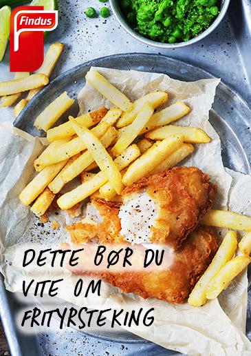 Brosjyreforside til frityrskolen 2020 med fish and chips i bakgrunnen