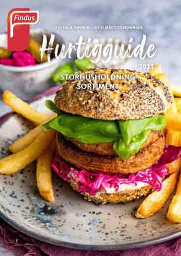 Forside av Hurtigguide storhusholdning sortiment brosjyre med bilde av vegetarburger og pommes frites med grå bakgrunn