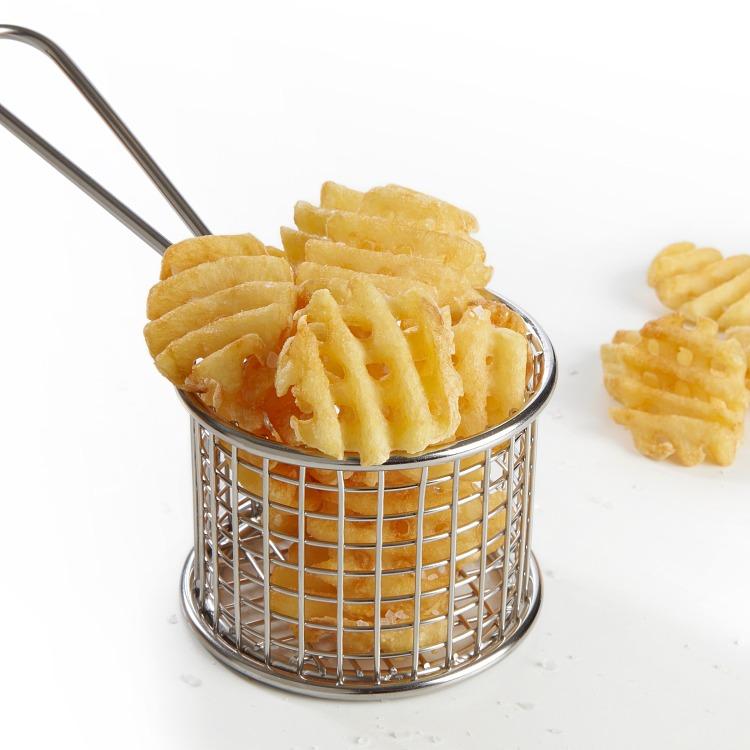 Produktbilde: Criss Cross poteter i trådkurv.
