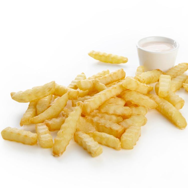 Produkt nærbilde: Frionor Pommes Frites med riflekutt, porsjon.
