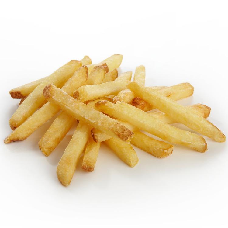 Produkt nærbilde: Pommes Frites rettkuttet med skall, porsjonspakning.