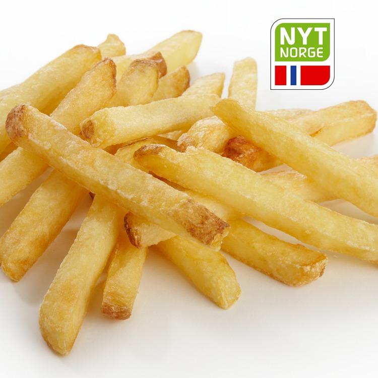 Produktbilde: Fast Frites rettkuttede med skall, Nyt Norge-merket, porsjon fra storpakning.