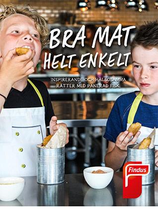 Bra mat helt enkelt barn äter fisk inspirationsblad framsida