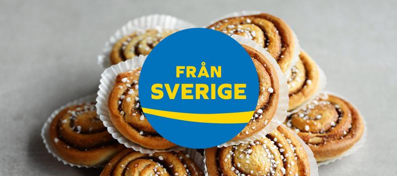 Från Sverige logotyp med svenska kanelbullar i bakgrunden