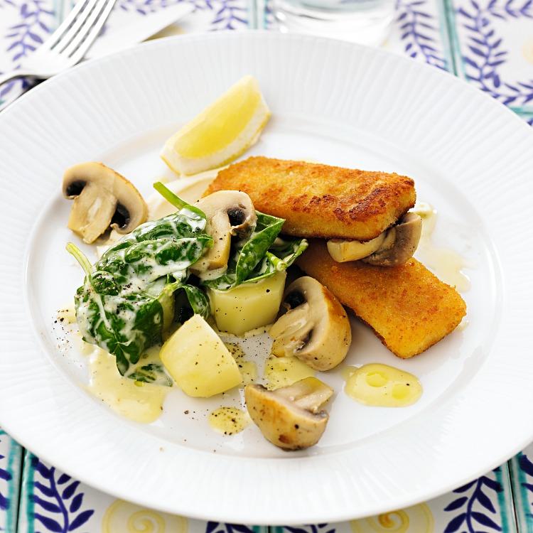 Fiskfiléfriletter med potatis och svamp