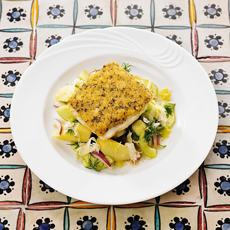 Fisk bordelaise med topping