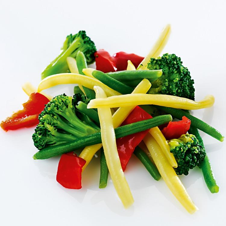 Grönsaksmix med vaxbönor broccoli och paprika